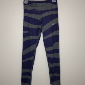 ADIDAS purple & grey geometric Climalite leggings